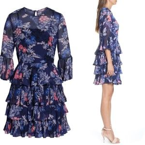 Eliza J Flutter Chiffon Sleeved Dress - Sz 2P